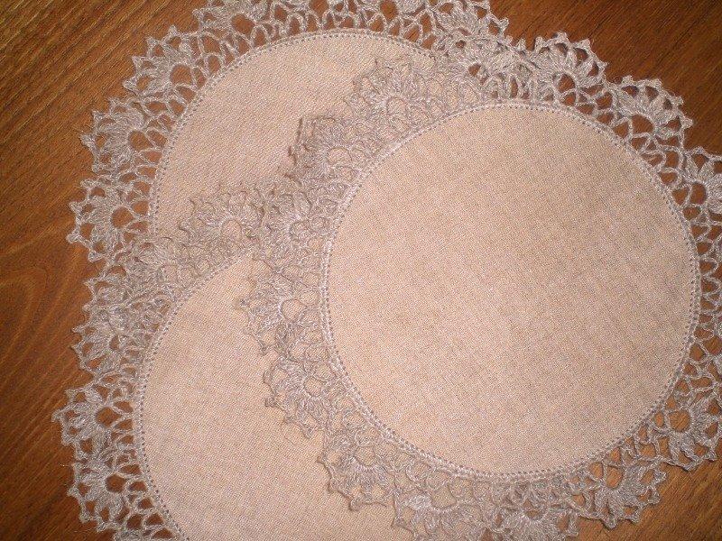 Linho e crochet (bege) / Linen and crochet (beige) agulhas da M?ri ...