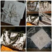 bolsa e pochette em linho