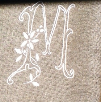 linen towel monogram M