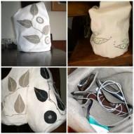 sacos brancos em linho com aplicaçõe e bordados