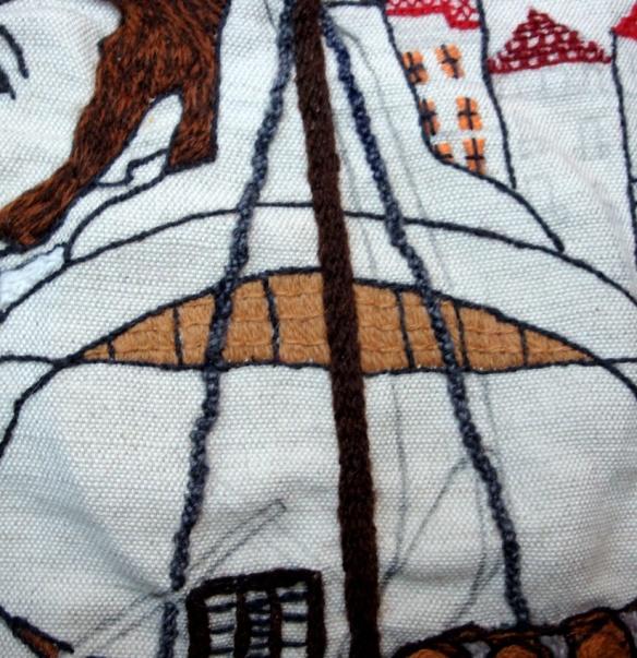 primeira parte do pipo, em ponto Castelo Branco, e vela desenhada