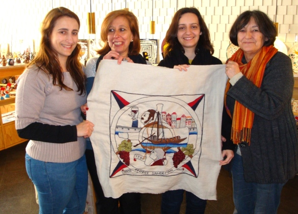 George Sandman panel embroidered in Porto. From left to right Susana, Fernanda, Rita and Meri-it's missing Anjos